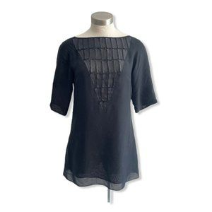 Mackage Collection Top Blouse Tunic Silk Leather